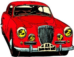 Funny jokes about cars. Drawing of an old style Rolls Royce