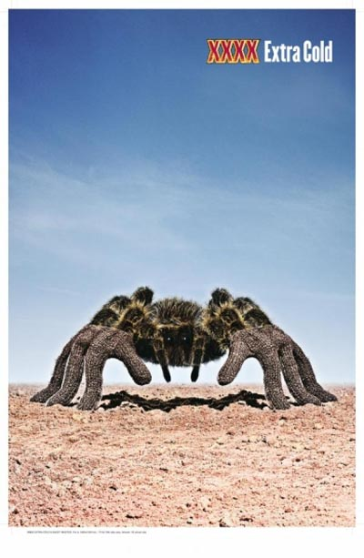 Castlemaine XXXX commercial - XXXX Extra Cold - funny looking spider in the desert