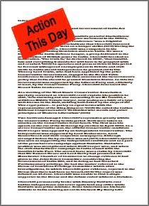 Winston Churchill: Paper with red label / sticker saying Action This Day.