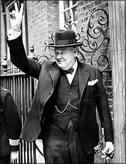 Churchill quotes: Photo of Winston Churchill doing his famous V sign.