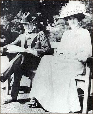 Young Churchill in 1908 with his future wife Clementine Hozier.