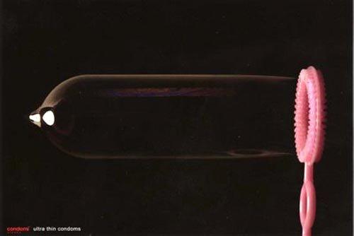 Funny Condomi condom commercial: ultra thin - blowing bubble