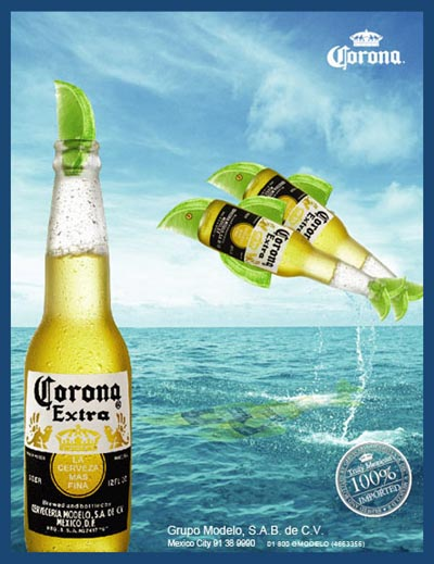 Corona ad - Two Corona Extra beer bottles jumping out of the water like dolphins.