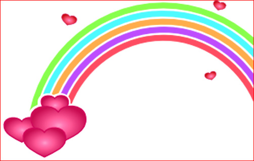 Love heart drawings rainbow