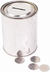 Quotescoop's donations page - picture of a donations box or white piggy bank with coins