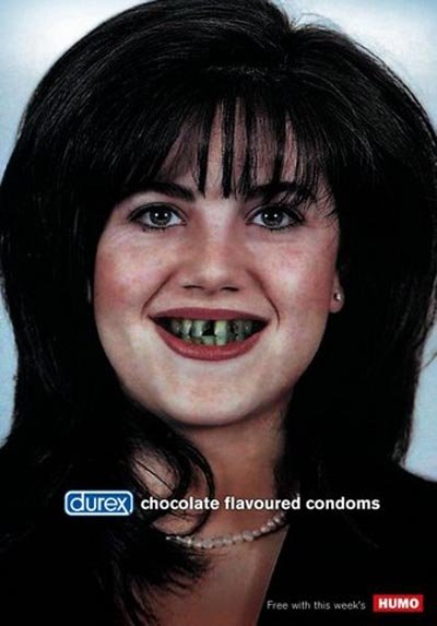 Durex commercial with Monica Lewinsky - chocolate flavoured