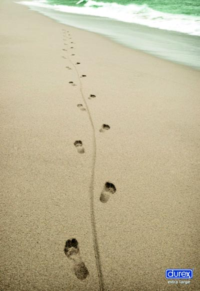 Durex commercial extra large, footprints in the sand - really funny condom ads