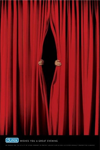 Funny Durex ad: theatre curtain: durex wishes you a great evening - really funny ads