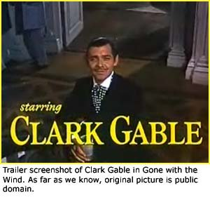 Trailer screenshot of Clark Gable from Gone with the Wind.