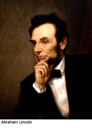 Famous quotations: Painting of former President Abraham Lincoln.