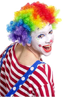 Hilarious birthday sayings - colorful funny clown smiling.