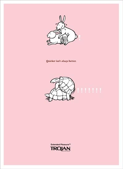 Trojan funny condom: rabbits and turtles: quicker isn't always better, extended pleasure