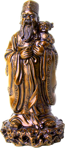 Chinese figurine of a wise man carrying a kid