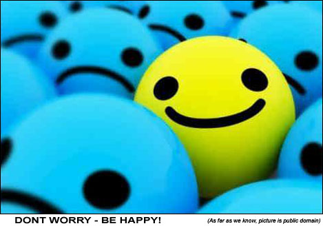 Dont worry be happy blue vs yellow smiley balls