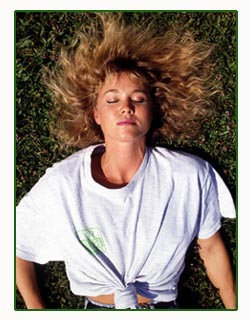 Picture of pretty girl with eyes closed in the grass