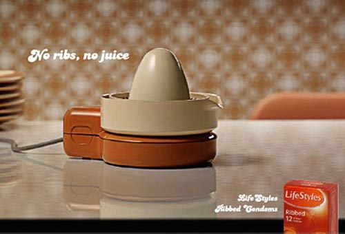 Lifestyles condom ads: lemon squeezer - no ribs, no juice