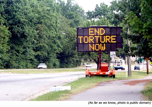 Funny traffic signs and funny road work signs: End Torture Now.