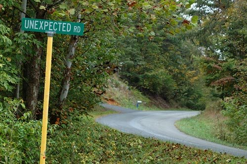 Silly signs: Unexpected Road!