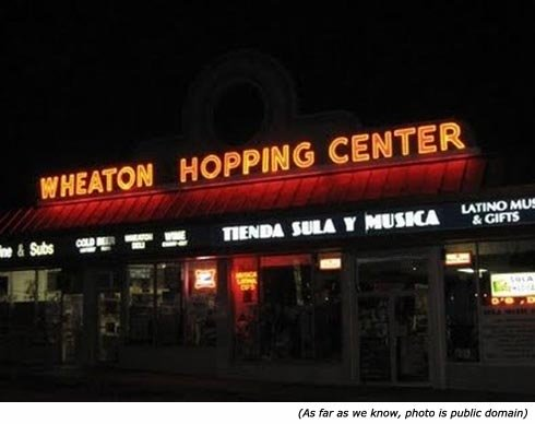 Funny shop signs. Wheaton Hopping Center.