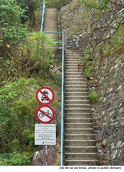 Really stupid signs: No motorcycle, no car and no bike on these stairs!