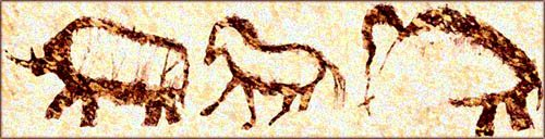 Funny thoughts next to cave paintings of horse and mammoth.