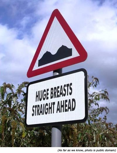 Hilarious traffic sign: Huge breasts straight ahead!