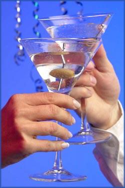 Happy birthday toast with martini.