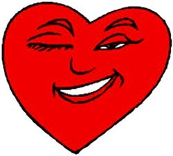 Drawing of red heart winking and smiling.