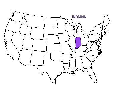 USA map with Indiana highlighted