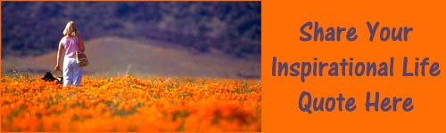 Inspirational Life Quote: woman walking with her dog in a field of orange golden poppies.
