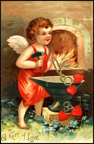 Vintage postcard cupid drawing red love hearts