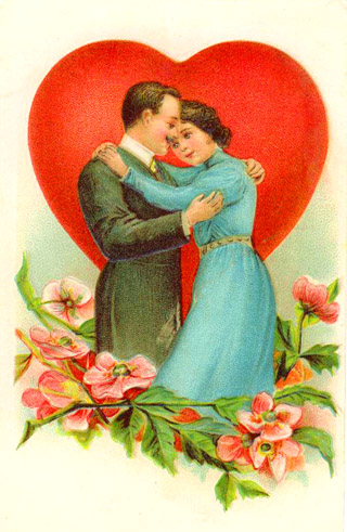 Inspirational Love Quotes - vintage postcard - drawing of couple in love embracing red love heart and pink flowers