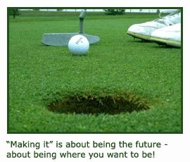 Inspirational quotes for athletes - concentration on putting that golf ball in the hole.