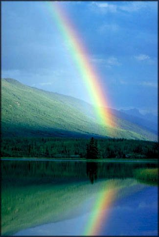 What is inspiration? Photo of rainbow on a lake.