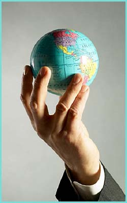 Quotes about leadership: hand holding globe.