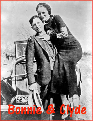 Inspirational love stories: Old photo of Bonnie and Clyde in front of their car. 1930s.