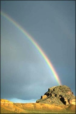 Picture of rainbow in the desert.