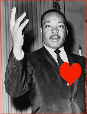 Martin Luther King Jr. Quotes: Martin Luther King with red heart drawn on his chest.