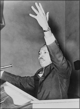 Martin Luther King Quotes: Martin Luther King at the freedom rally at Washington Temple Church