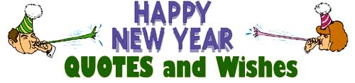 New Year Quotes with man and woman blowing in noise makers.