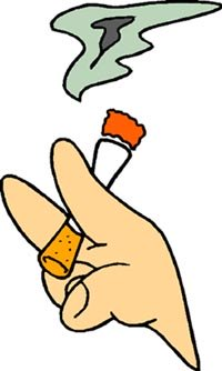 Stopping smoking as a New Years resolution: Drawing of cigarette between fingers.