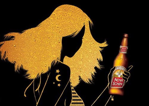 Nova Schin alcohol ads - Gold and black picture of disco girl - good beer ads