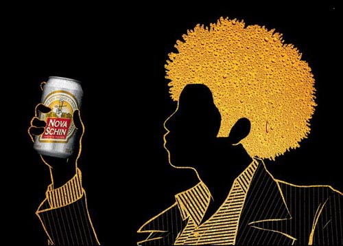 Nova Schin ads - Gold and black picture of 70's disco boy- great visual beer ads