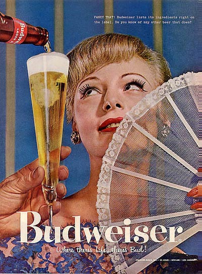 Old Budweiser ads - Woman with fan getting a beer - Budweiser: Where there's Life ... There's Bud!.