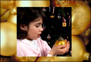 Little girl in christmas photo as part of a photo book.
