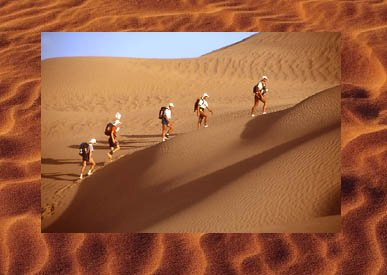 Great photo of people walking through desert for a photo travel book