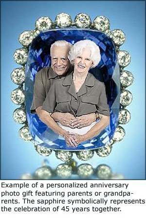 Personalized gifts for anniversary: couple celebrating 45 years illustrate by a blue sapphire.