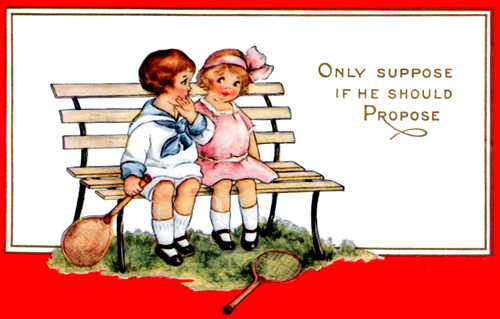 Free Valentine cards to print. Vintage Valentine image of little boy and girl with tennis racquets.