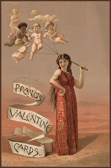 Old antique looking Valentines Day picture of woman in red toga holding several cupids on a string.
