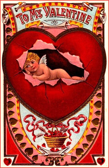 Cupid lying inside red heart on free printable Valentine postcards in old vintage style.